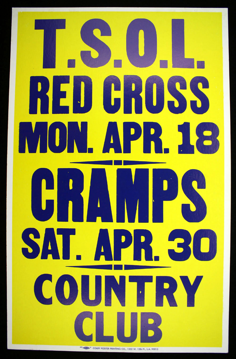 TSOL w/ Red Cross + CRAMPS at the Country Club BOXING STYLE POSTER