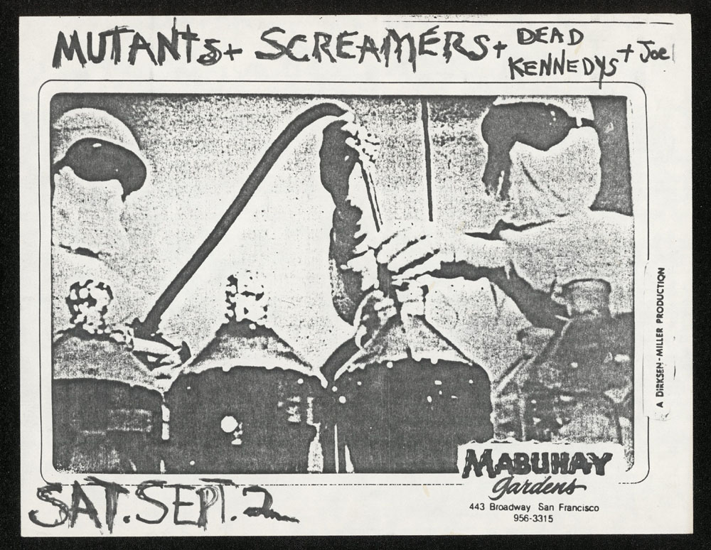 SCREAMERS w/ Mutants, Dead Kennedys at Mabuhay Gardens