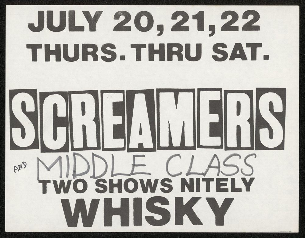 SCREAMERS w/ Middle Class at the Whisky