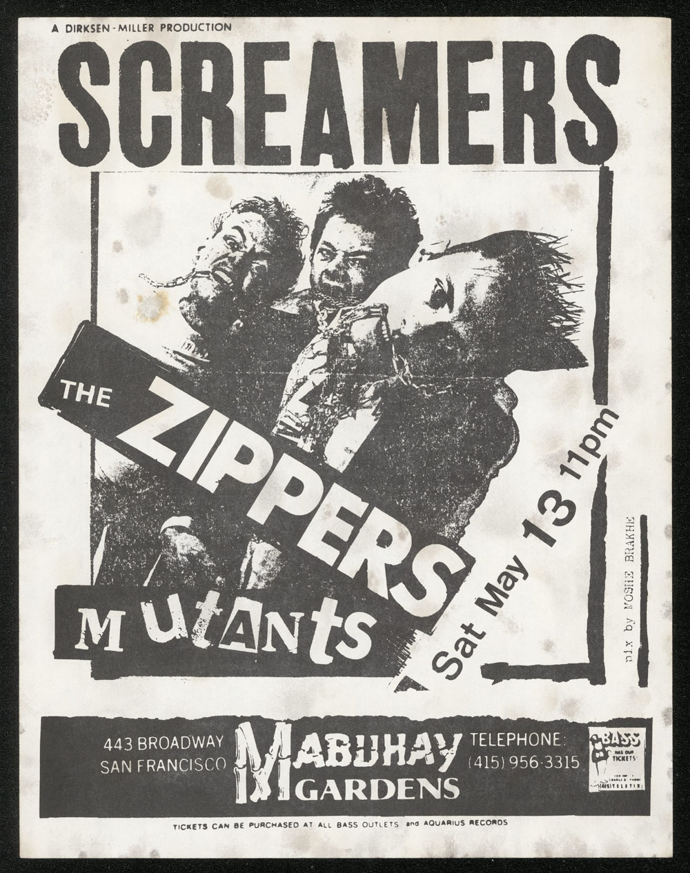 SCREAMERS w/ Zippers, Mutants at Mabuhay Gardens