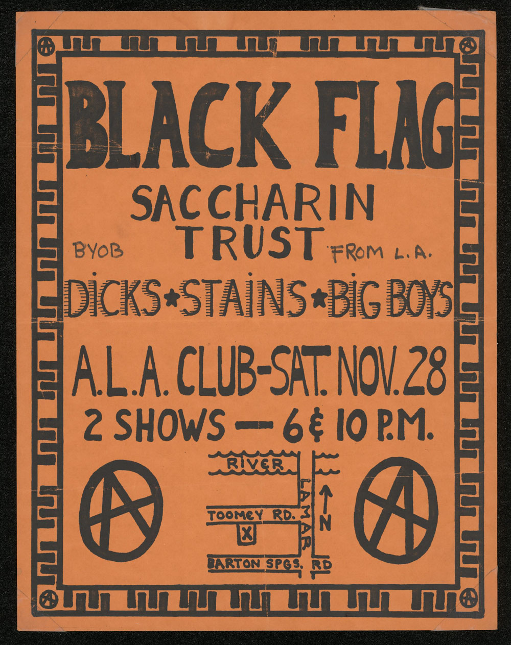 BLACK FLAG w/ Saccharine Trust, Big Boys, Dicks, Stains at ALA Club
