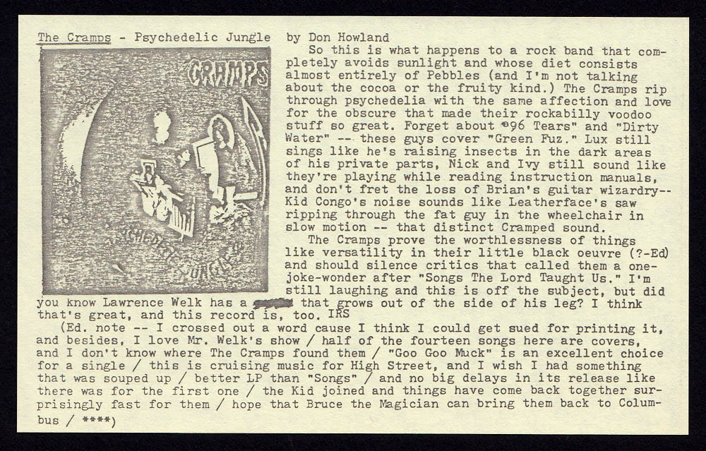 CRAMPS Psychedelic Jungle LP review