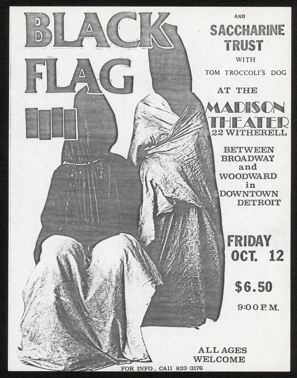 BLACK FLAG w/ Saccharine Trust, Tom Troccoli's Dog at Madison Theater