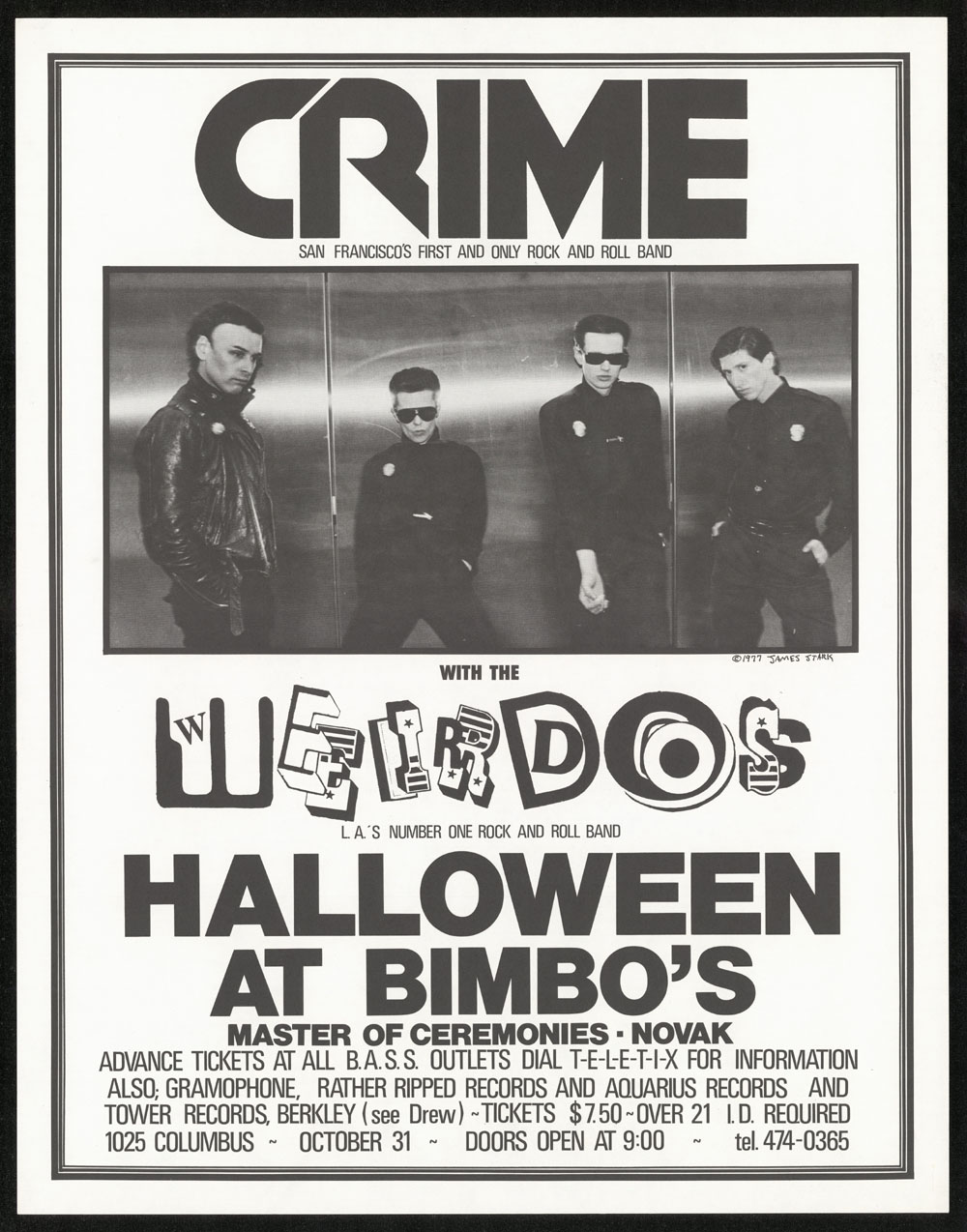 CRIME w/ Weirdos at Bimbo's POSTER