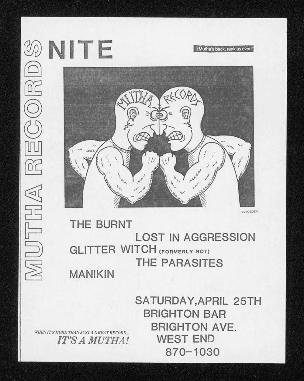 MUTHA RECORDS NITE w/ Burnt, Lost In Aggression, Glitter Witch, Parasites, Manikin at Brighton Bar #1
