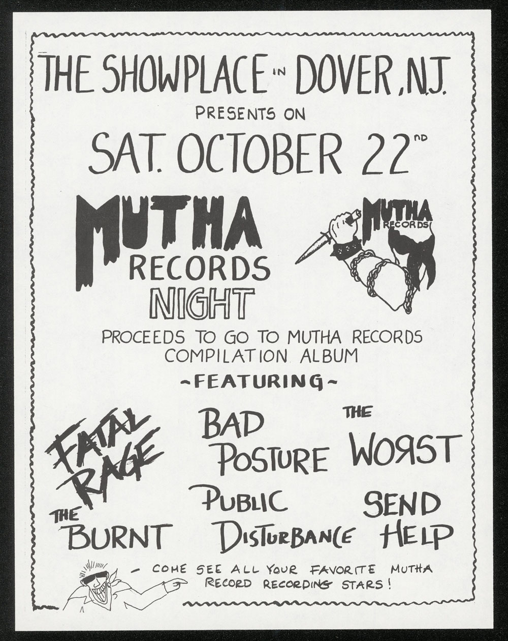 MUTHA RECORDS NIGHT w/ Worst, Fatal Rage, Burnt, Bad Posture, Child Abuse, Public Disturbance at Show Place #2