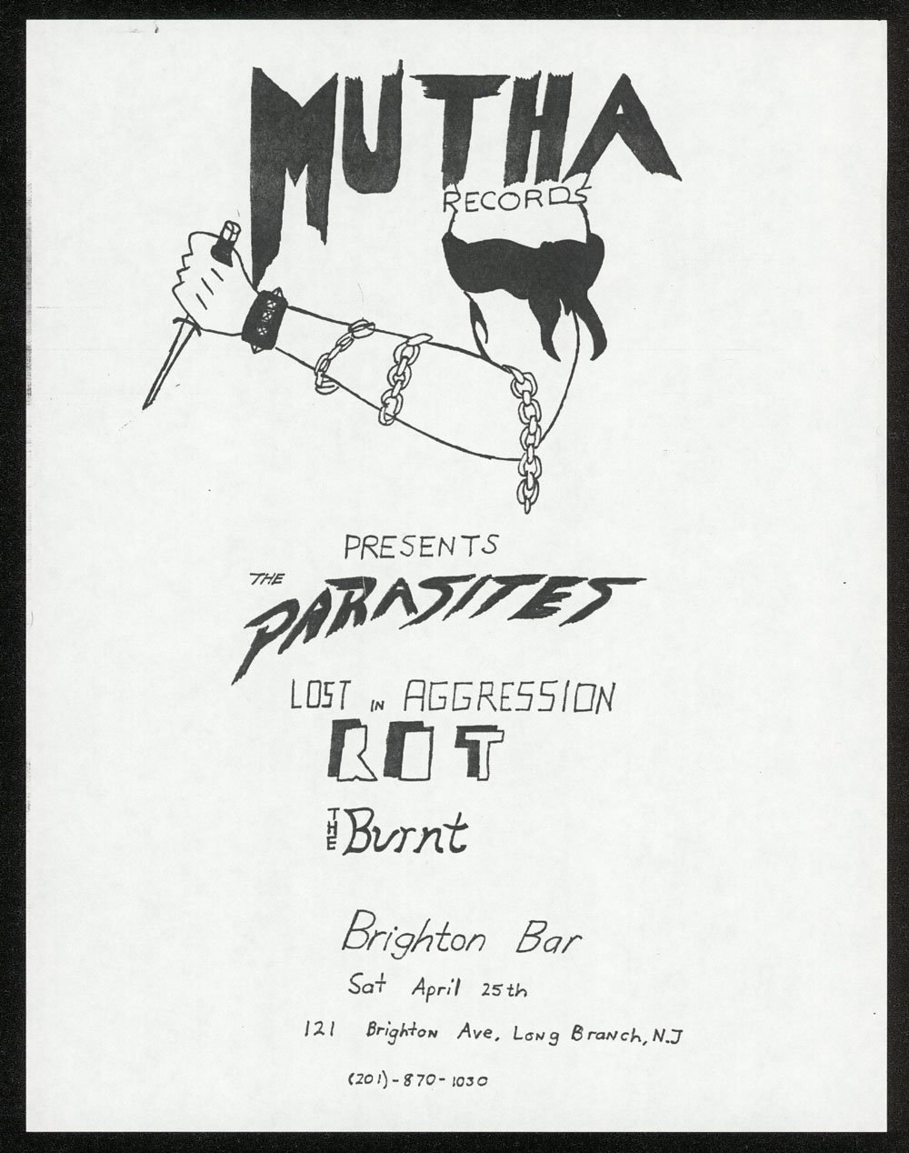 MUTHA RECORDS presents Parasites, Lost In Aggression, Rot, Burnt at Brighton Bar