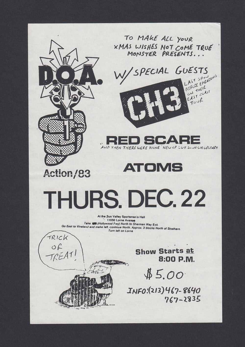 DOA w/ CH3, Red Scare, Atoms at Sun Valley Sportsman's Hall
