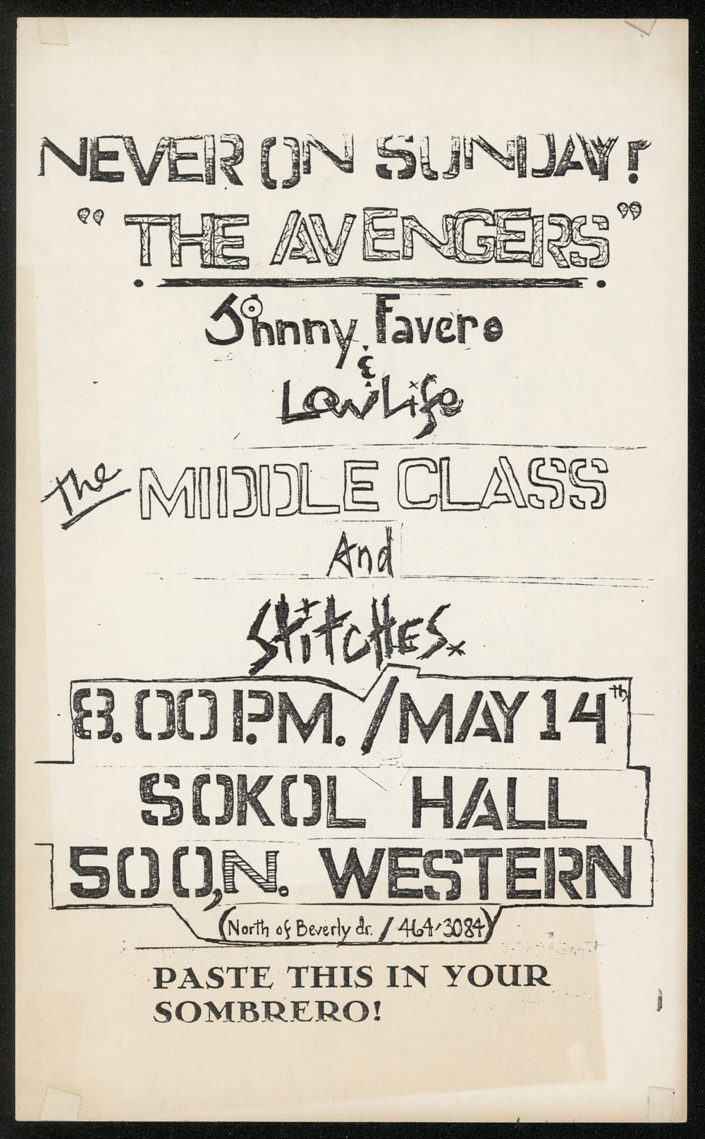 AVENGERS w/ Middle Class, Stitches, Low Life at Sokol Hall