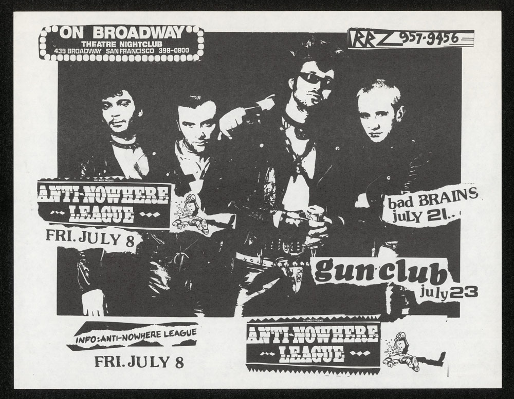ANTI-NOWHERE LEAGUE + BAD BRAINS + GUN CLUB at On Broadway