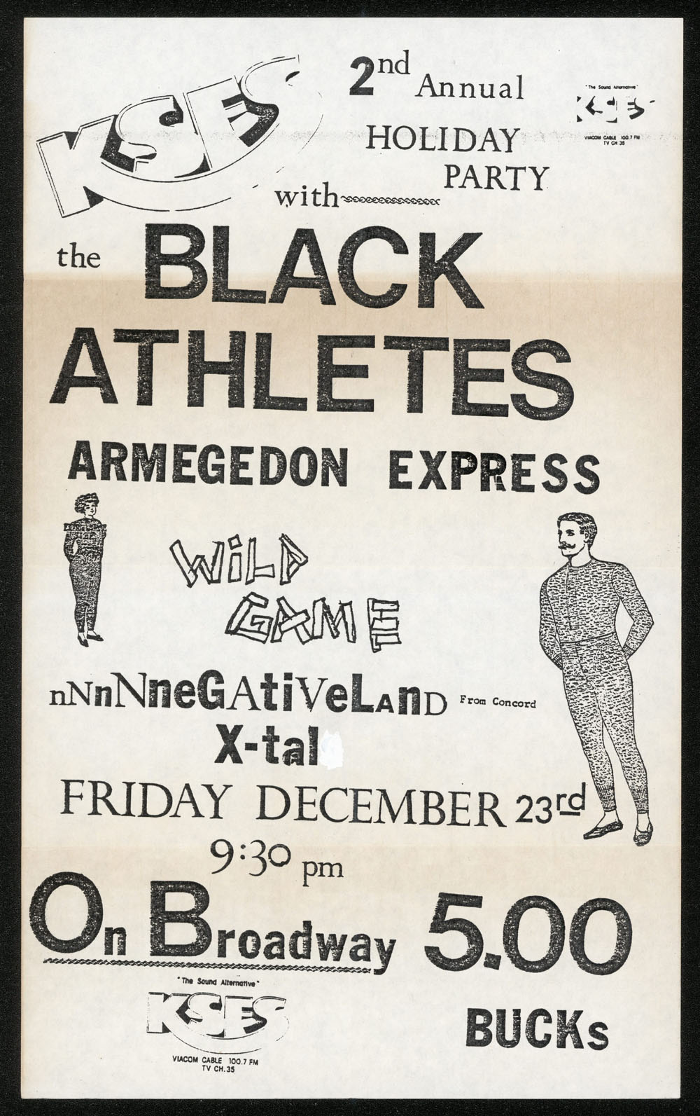 BLACK ATHLETES w/ Armegedon Express, Wild Game, Negativland, X-Tal at On Broadway