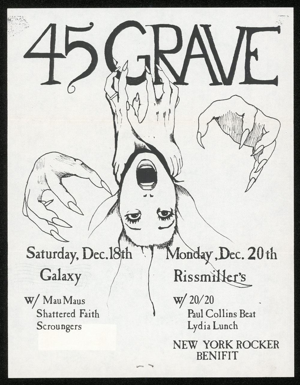 45 GRAVE w/ Mau Maus, Shattered Faith, Scroungers + w/ Lydia Lunch, Paul Collins Beat, 20/20