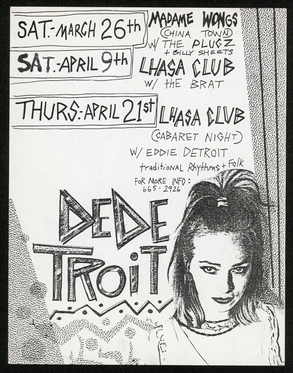 DE DE TROIT w/ Plugz at Madam Wong's + w/ The Brat at Lhasa Club