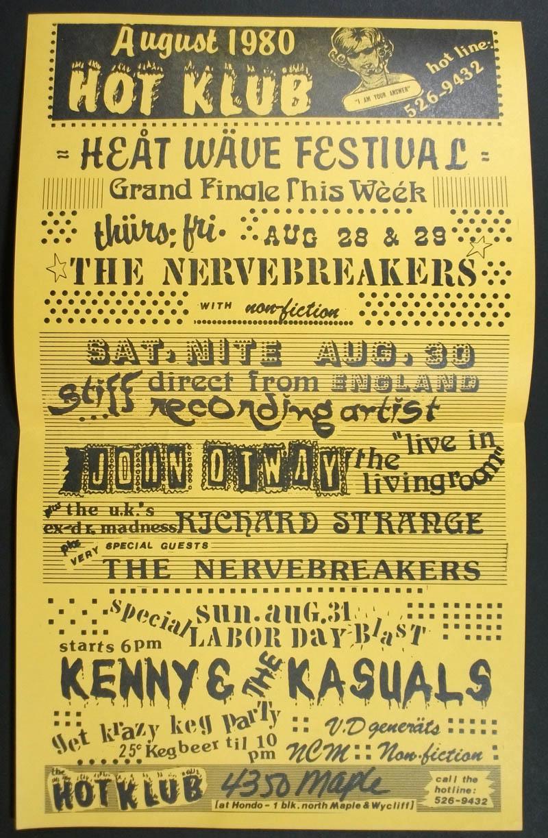 Ryebread Rodeo Hot Klub Calendar August 1980 Fliers
