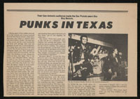 SEX PISTOLS ~ US tour clipping (San Antonio)