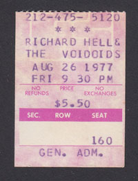 RICHARD HELL & THE VOIDOIDS at The Village Gate 8.26.77