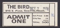 THE BIRD venue ticket 10.07.78