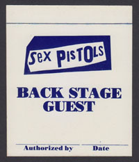 SEX PISTOLS backstage pass 1978