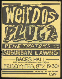 WEIRDOS w/ Plugz, Penetrators, Suburban Lawns at Baces Hall