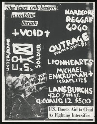 VOID w/ Outrage, Michael Enkrumah & The Israelites, Underground Soldier, Lionhearts at Lansburghs