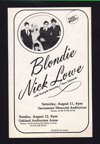 BLONDIE w/ Nick Lowe at Sacto and Oakland
