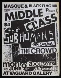 MIDDLE CLASS w/ Subhumans, Crowd, Adolescents at Vanguard Gallery