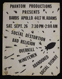 SOCIAL DISTORTION w/ Bad Religion, Overkill, Minutemen, Abandoned, Social Dismay at Bards Apollo