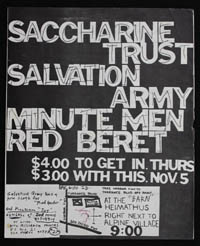 SACCHARINE TRUST w/ Salvation Army, Minutemen, Red Beret at The Barn