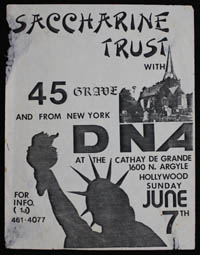 SACCHARINE TRUST w/ 45 Grave, DNA at Cathay De Grande