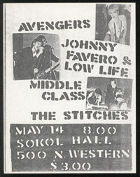 AVENGERS w/ Johnny Favero & Low Life, Middle Class, Stitches at Sokol Hall