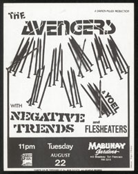 AVENGERS w/ Negative Trend, Flesh Eaters, Yoel at Mabuhay Gardens