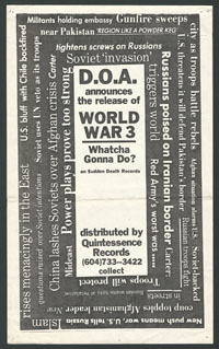 "DOA ""World War 3"" promo flier and sleeve art/note"