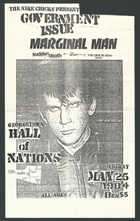 GOVERNMENT ISSUE w/ Marginal Man, Sudden Death, Ground Zero Band at Georgetown Hall of Nations