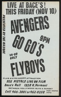 AVENGERS w/ Go-Go's, Flyboys at Baces Hall