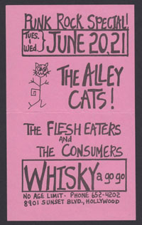 ALLEY CATS w/ Flesh Eaters, Consumers at Whisky-A-Go-Go