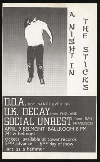 DOA w/ UK Decay, Social Unrest at Belmont Ballroom