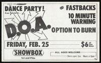 DOA w/ Fastbacks, 10 Minute Warning, Option To Burn at the Showbox