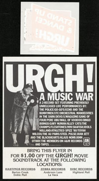 URGH! A MUSIC WAR flier & iron-on