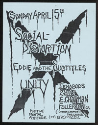 SOCIAL DISTORTION w/ Eddie & The Subtitles, Unity at Ichabod's