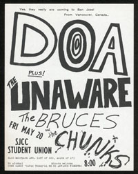 DOA w/ Unaware, Bruces, Chunks at SJCC Student Union