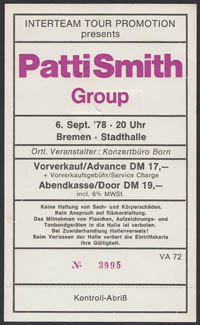 PATTI SMITH in Bremen, Germany 9.06.78