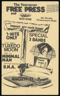TUXEDOMOON w/ Minimal Man, DNA at Gary Taylor's Rock Room