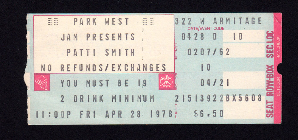 PATTI SMITH at Park West 4.28.78