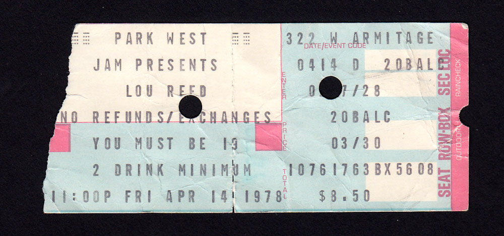 LOU REED at Park West 7.14.78