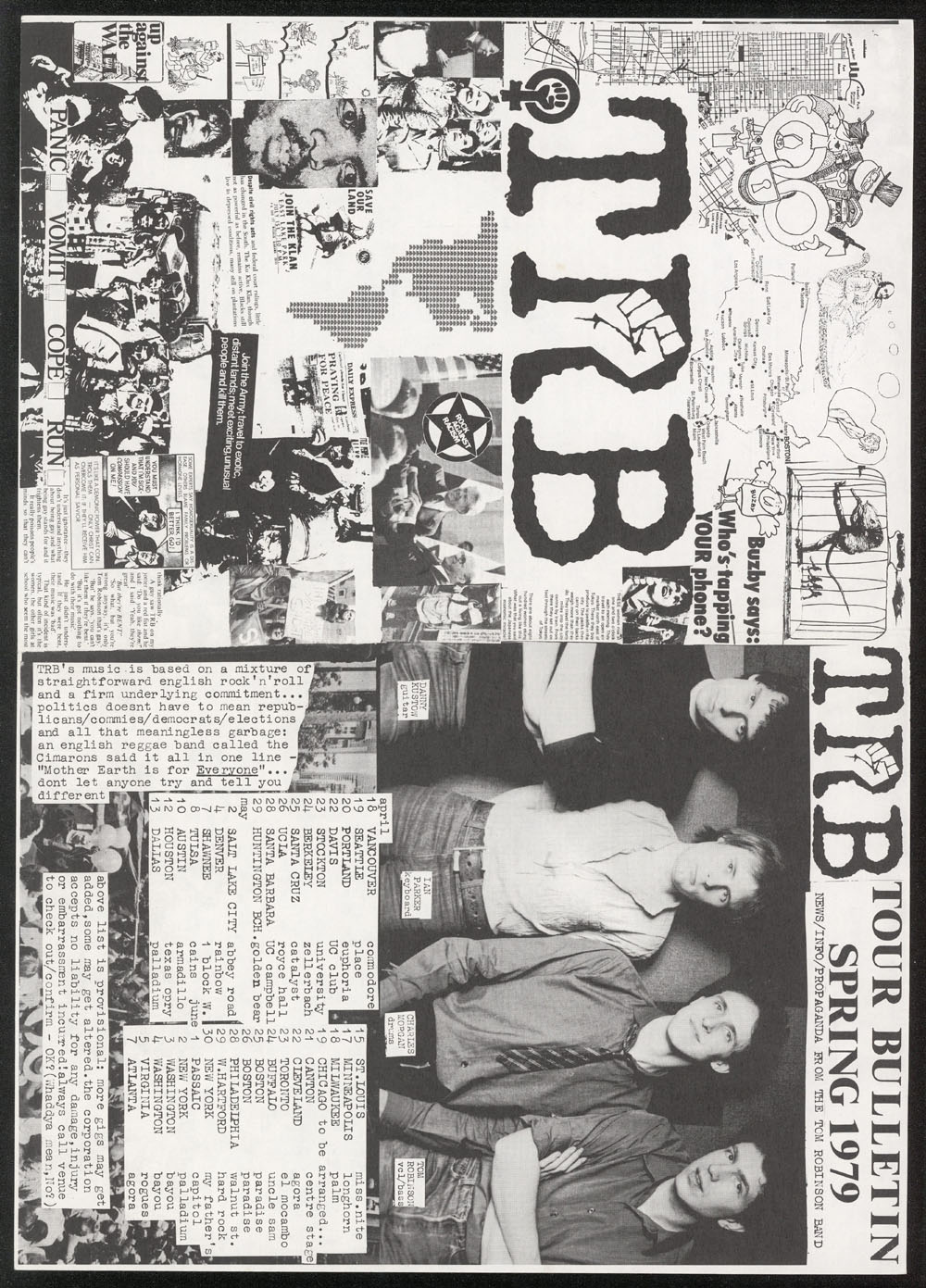 TOM ROBINSON BAND tour bulletin